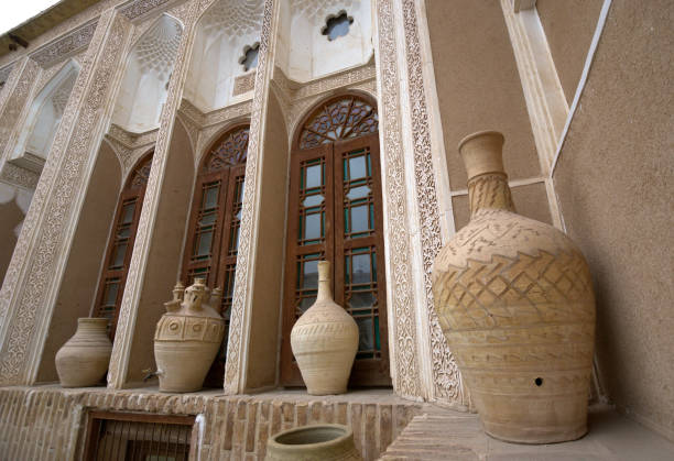 Old Middle East Silk Road era palace facade and details - Yazd, Iran