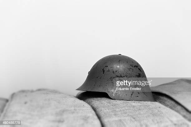 Old military helmet of the Spanish army. Model year 1926 . Widely used during the Spanish civil war, between 1936 and 1939.