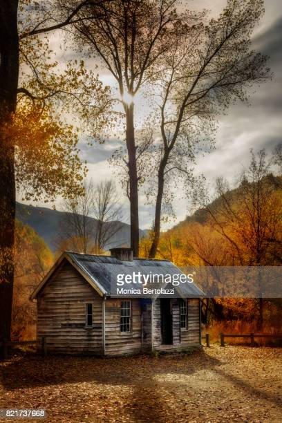 old miners' cottage in arrowtown, central otago, new zealand - arrowtown stock pictures, royalty-free photos & images