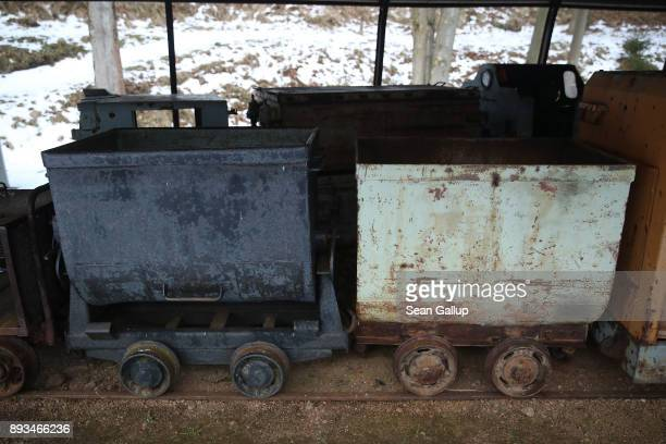 Old mining carts stand outside at a mining museum on December 13 2017 in the former mining town of Altenberg Germany Altenberg will potentially...