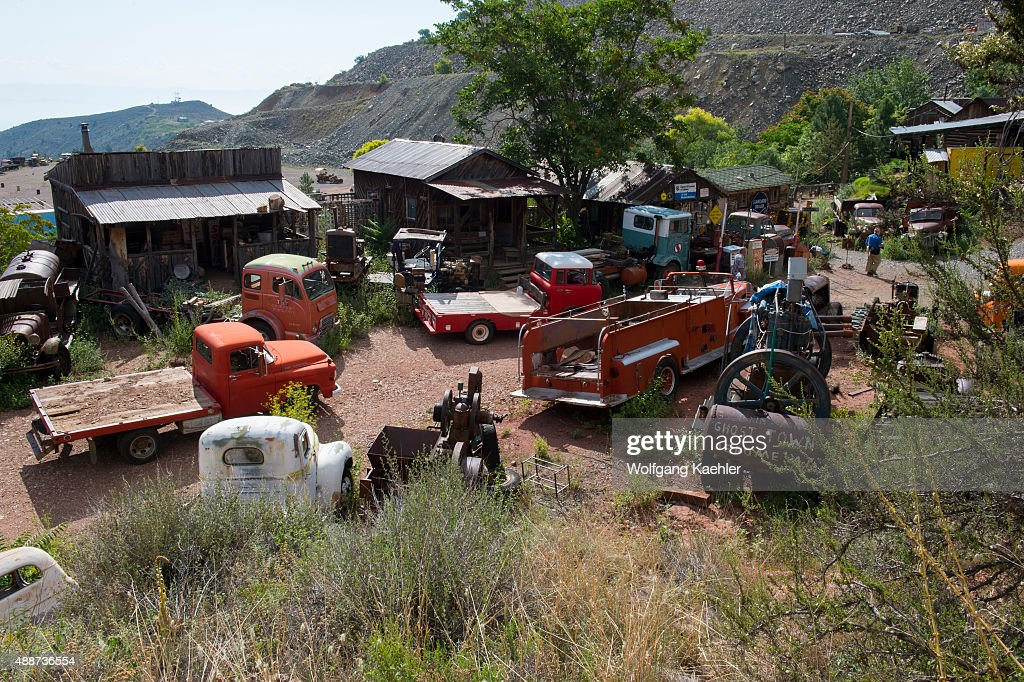 Old mining equipment, cars and trucks at the historic Gold ...