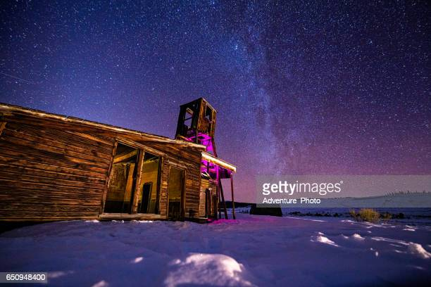 Old Mining Town with Milky Way Galaxy at Night