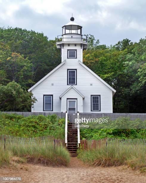 old mission point light lighthouse - traverse city fotografías e imágenes de stock