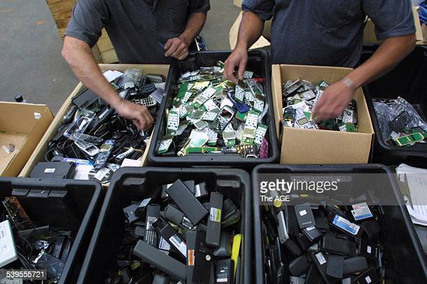 Old mobile phones await recycling at MRI in Campbellfield 27 February 2002 THE AGE Picture by ANDREW DE LA RUE