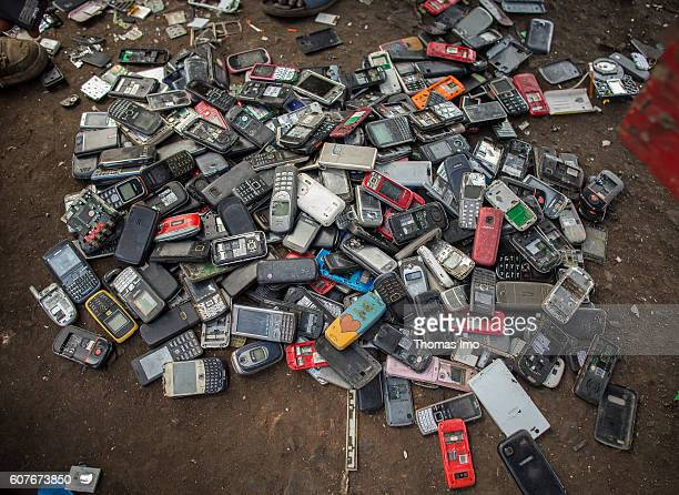 Old mobile phones on the biggest electronic scrap yard in Agbogbloshie a district in Ghana's capital on September 09 2016 in Accra Ghana