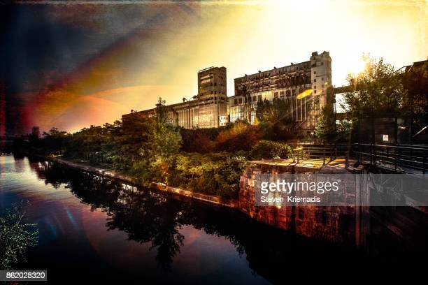 old montreal - abandoned industrial site - vieux montréal stock pictures, royalty-free photos & images