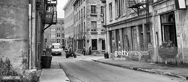 old montreal rue saint-françois-xavier - vieux montréal stock pictures, royalty-free photos & images