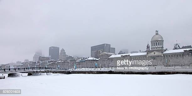 Old Montreal skyline in winter