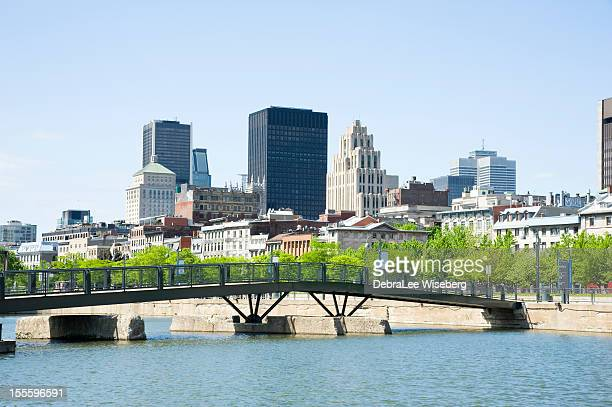 old montreal skyline - vieux montréal stock pictures, royalty-free photos & images