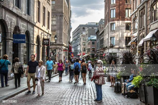 old montreal - st. paul street - vieux montréal stock pictures, royalty-free photos & images