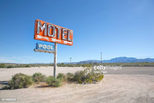 old motel sign. - abandoned stock pictures, royalty-free photos & images