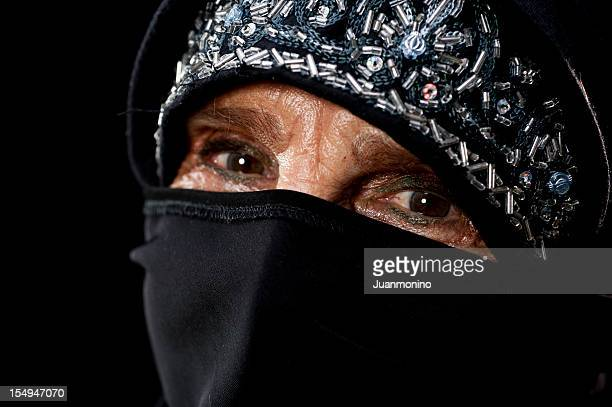 old muslim woman's eyes - sharia stock photos and pictures