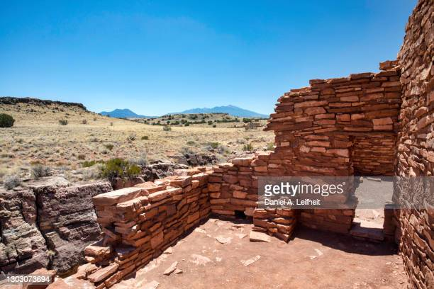 old native american pueblo ruins at wupatki national monument - anasazi ruins stock pictures, royalty-free photos & images