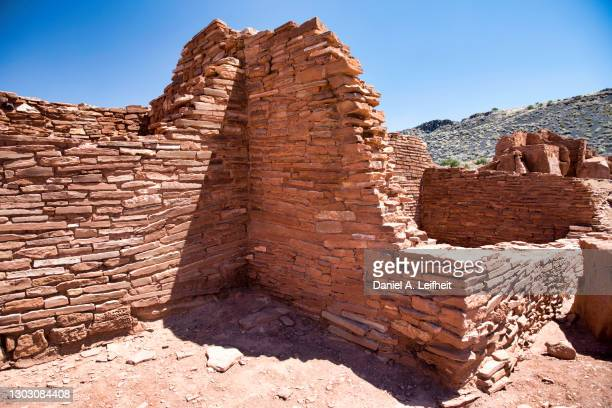 old native american pueblo ruins at wupatki national monument. - anasazi ruins stock pictures, royalty-free photos & images