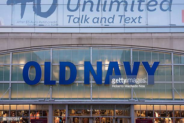 Old Navy sign or logo in the front of a store Old Navy is a popular American clothing and accessories retailer owned by American multinational...