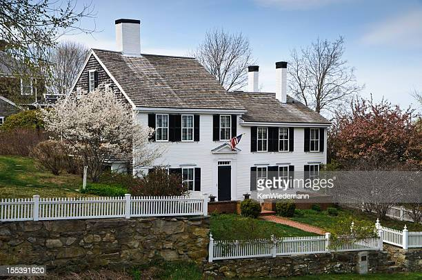 old new england colonial - plymouth massachusetts stock photos and pictures
