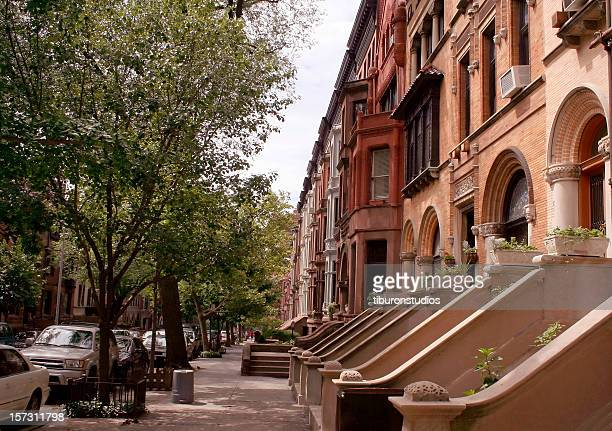 old new york: brooklyn brownstones - brooklyn new york stock pictures, royalty-free photos & images