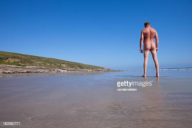 Old Nudist On A Deserted Beach