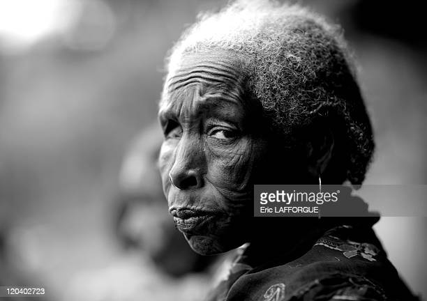 Old one eyed Borana woman in Ethiopia on October 21 2008 El Dima Buchata Borana village Borana are Omoro people Men can have up to 5 wives The...