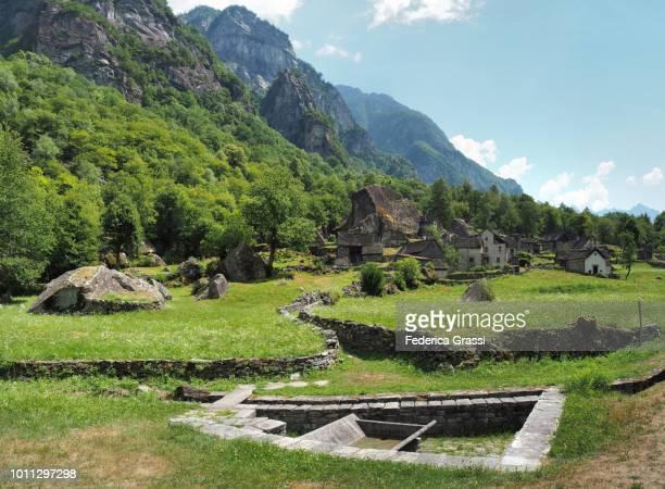 Old Open-air Washhouse Made of Local Granite Stone in Sabbione, Bavona Valley, Ticino