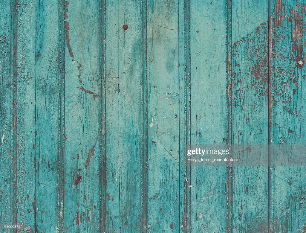 Old Painted Cracky Blue Turquoise Wooden Texture Vintage Rustic Stock Photo
