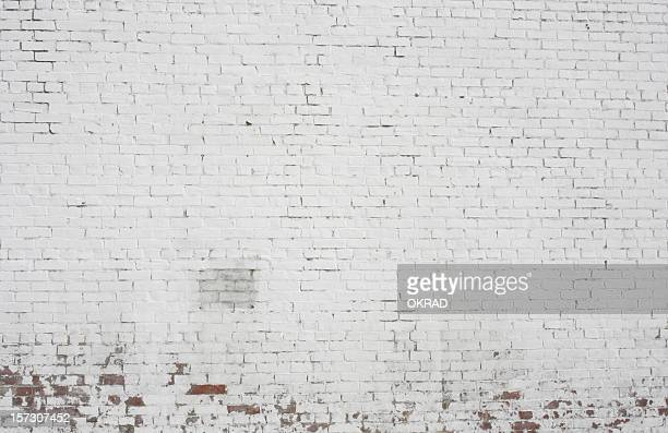 old painted white brick wall background pattern design - brick stock pictures, royalty-free photos & images