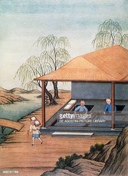 Old paper mill colour print China 18th century