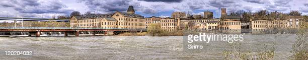 old paper mills hdr panorama, appleton wisconsin - wisconsin stock pictures, royalty-free photos & images