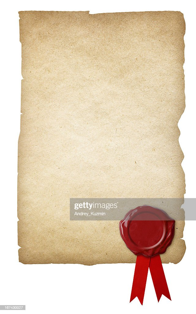 Old paper with wax seal and ribbon isolated : Stock Photo