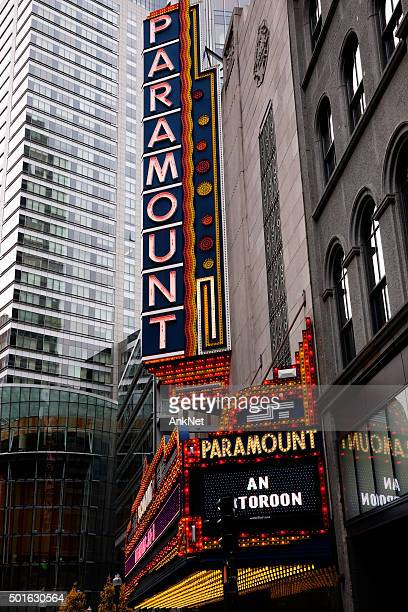 old paramount theater neon sign - paramount theater los angeles stock photos and pictures