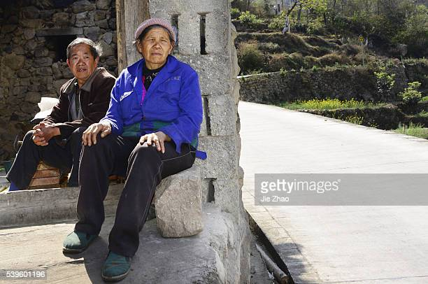 Old people poses for photography in Hanyuan Sichuan provice south China on 21th March 2015 Yongshou Chen and Shuying Tian 71 years old and 68 years...