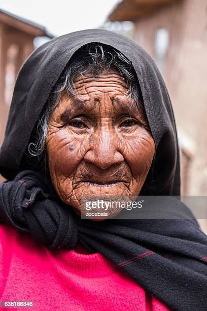 Old Peruvian Woman in Traditional Clothes