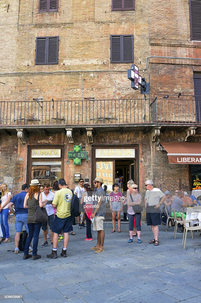 Old pharmacy outdoor in Siena. Color image : Stock Photo