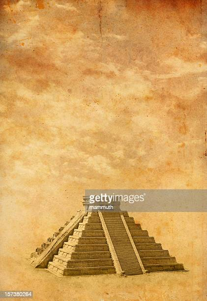 old photo of chichen itza - kukulkan pyramid stock photos and pictures