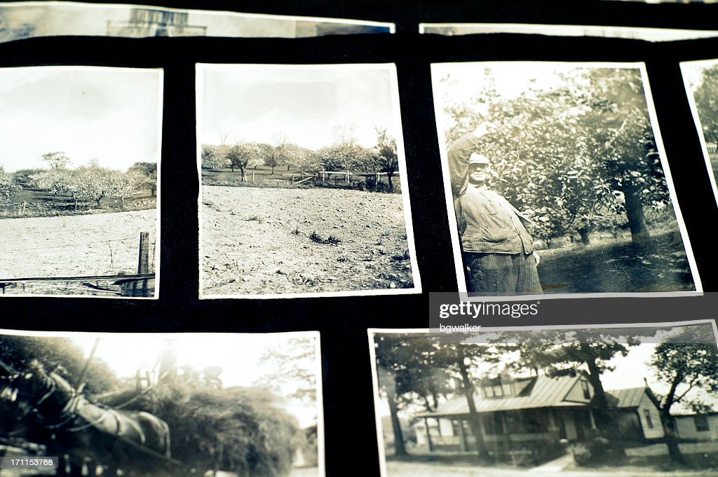 Old Photograph Album With Black And White Snapshots Stock Photo