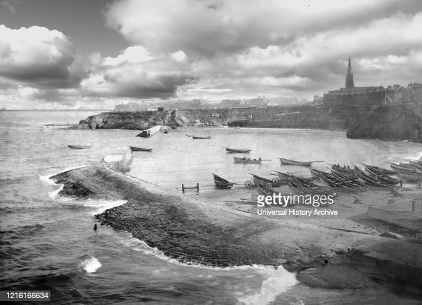 Old photograph circa 1900 Victorian/Edwardian social history Cullercoats Bay with coble fishing boats Cullercoats Tyne and Wear England