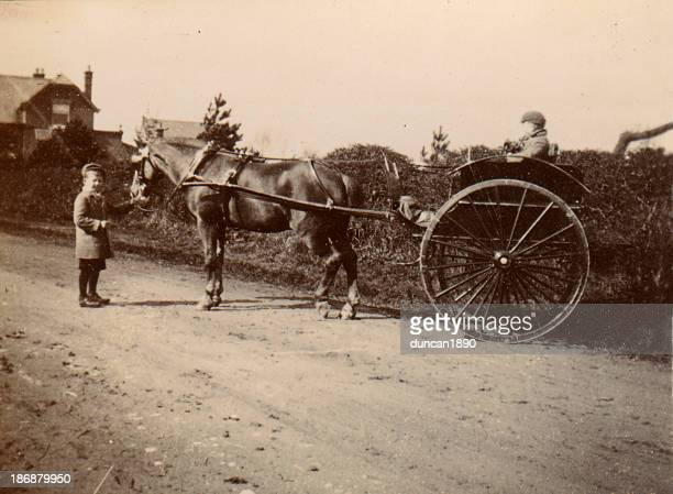 Old Photograph Two Boys and Carriage