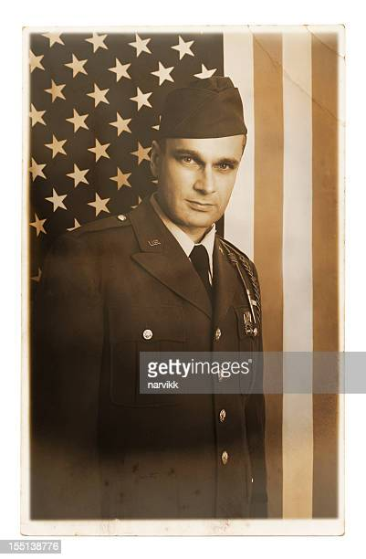 old photography american soldier portrait - officer military rank stock pictures, royalty-free photos & images