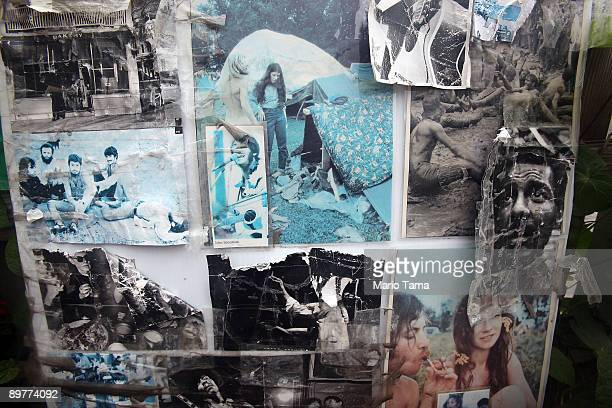 Old photos hang as the 40th anniversary of the Woodstock music festival approaches August 13 2009 in Woodstock New York On August 1517 in 1969 an...