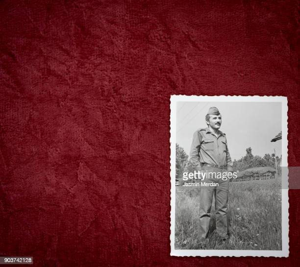 old photos of man in army - fotografie stock-fotos und bilder