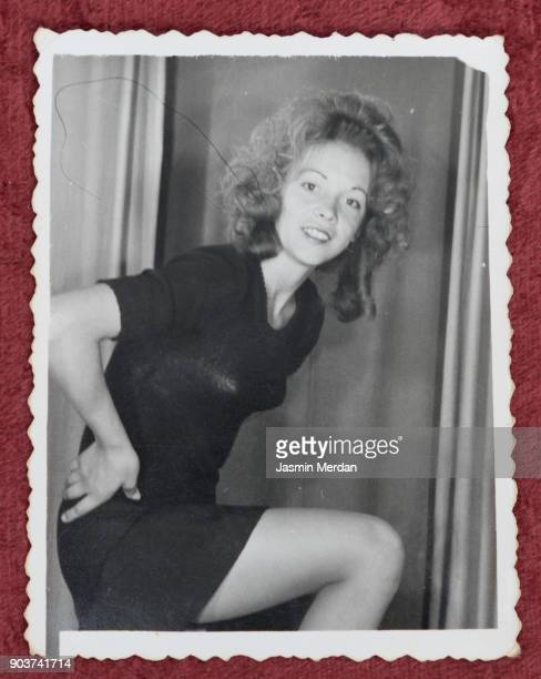 old photos of young woman in photography studio posing - historisch stock-fotos und bilder