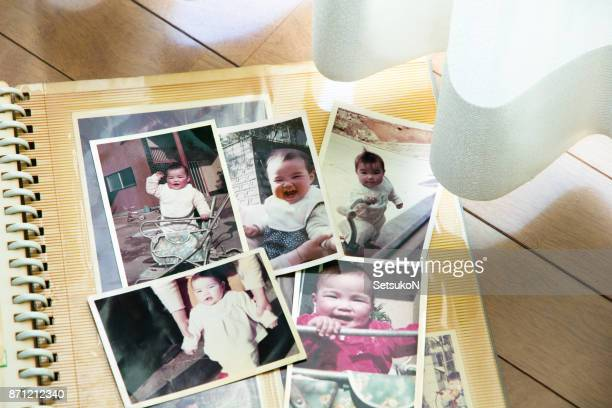old pictures, 70's child - photo album stock photos and pictures