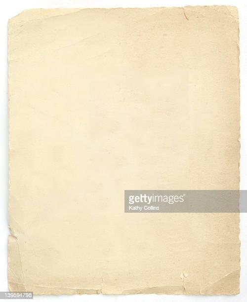 old piece of cream aged paper - kathy self fotografías e imágenes de stock