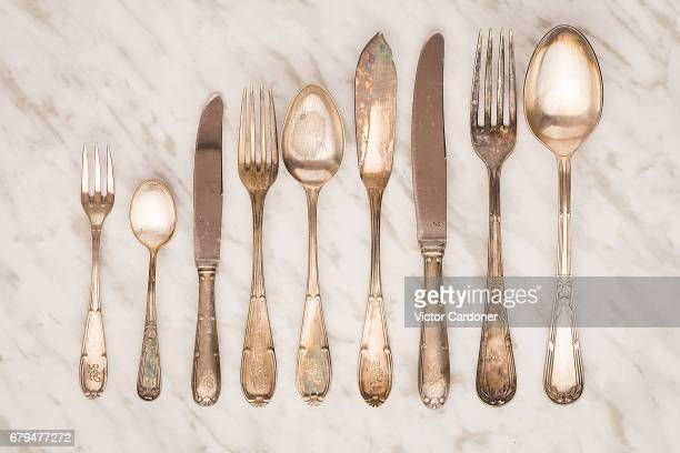 old pieces of cutlery - silverware stock pictures, royalty-free photos & images