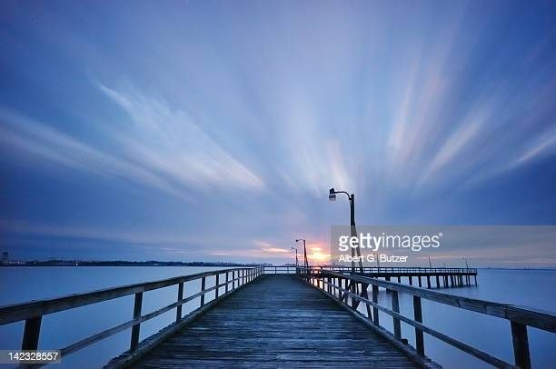 old pier in willoughby bay - norfolk virginia stock photos and pictures