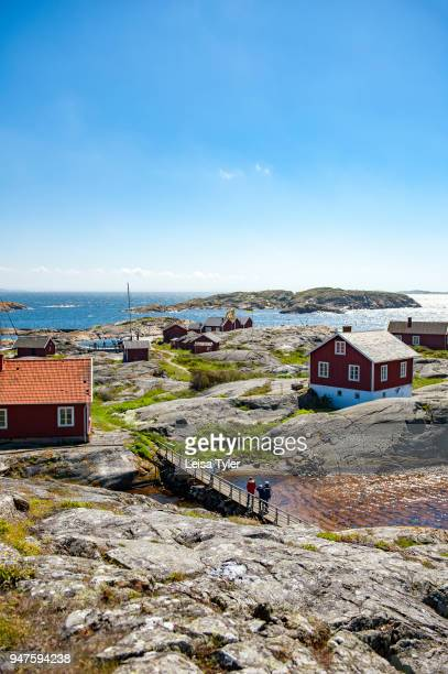 Old pilot houses on the Weather Islands a clutch of barefaced rocks in the Bohuslän Archipelago West Sweden The islands served as a pilot station...