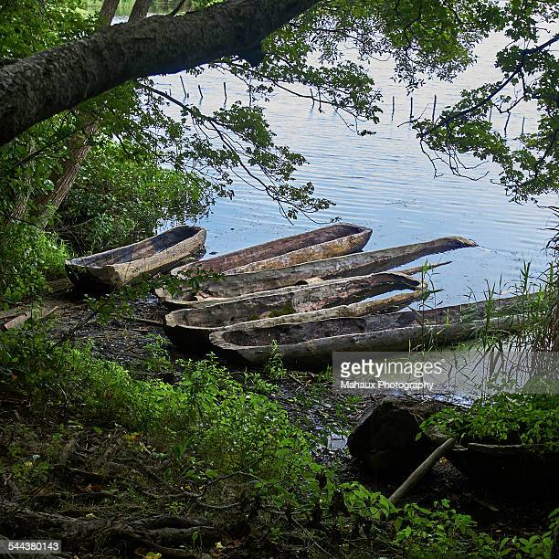 old pirogue on the beach - plimoth plantation stock photos and pictures