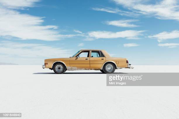 Old Pontiac parked on Salt Flats
