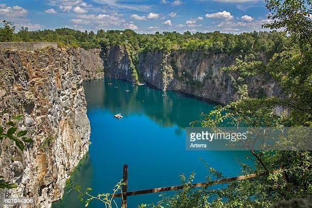 Old porphyry quarry Carriere De Cosyns now a dive spot in Belgium Lessines / Lessen Hainaut Belgium