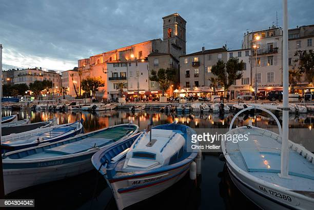 old port at night la ciotat provence - bouches du rhone stock pictures, royalty-free photos & images